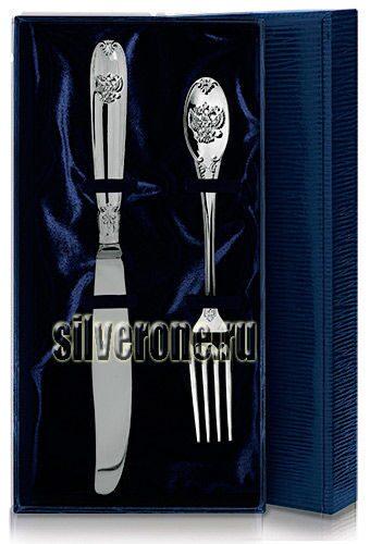 Серебряный нож с вилкой Герб