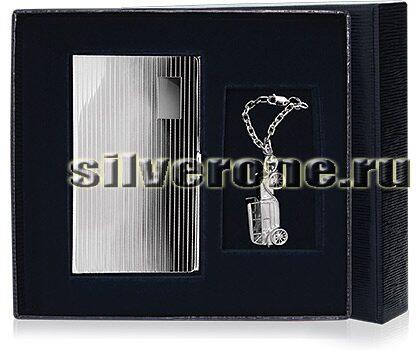 Серебряная визитница в наборе