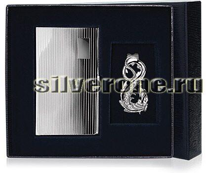 Серебряная визитница в наборе 3