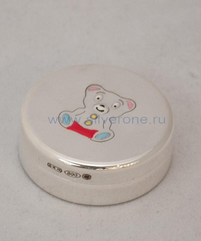 серебряная шкатулка на 1-й зуб с эмалью Мишка