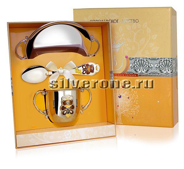Серебряный набор Медовый мишка 3 пр.