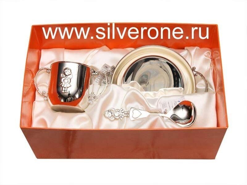 Набор Поильник с ложкой и блюдце из серебра Малышка