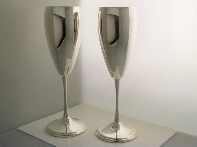 Фужер для шампанского гладкий серебряный