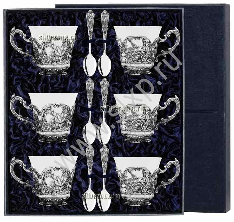 Серебряный чайный набор Королевская Охота