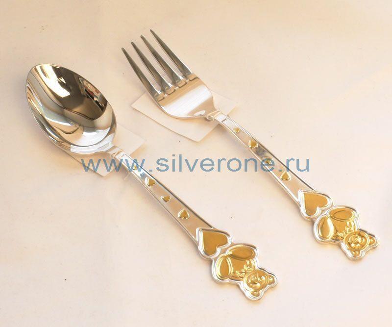 Серебряные приборы с мишкой