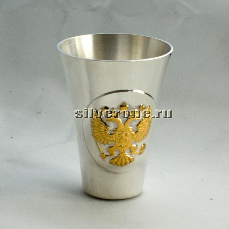 Серебряная стопка Герб с позолотой