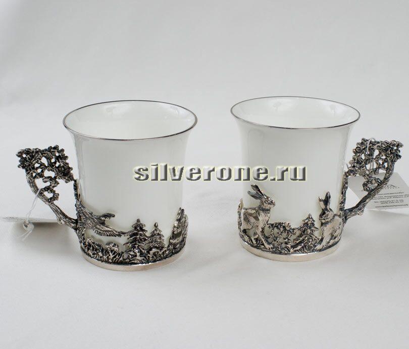 Серебряный набор для кофе Зайцы