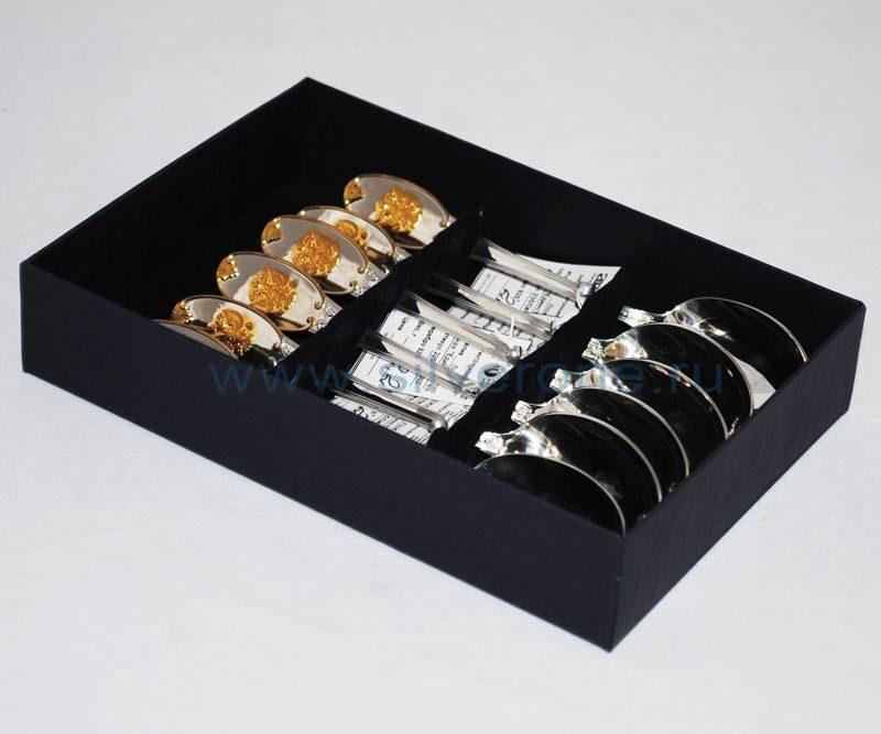 Набор столового серебра 6 чайных ложек Герб с позолотой