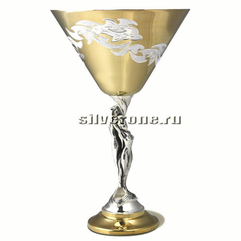 Серебряный бокал для мартини Дельфин