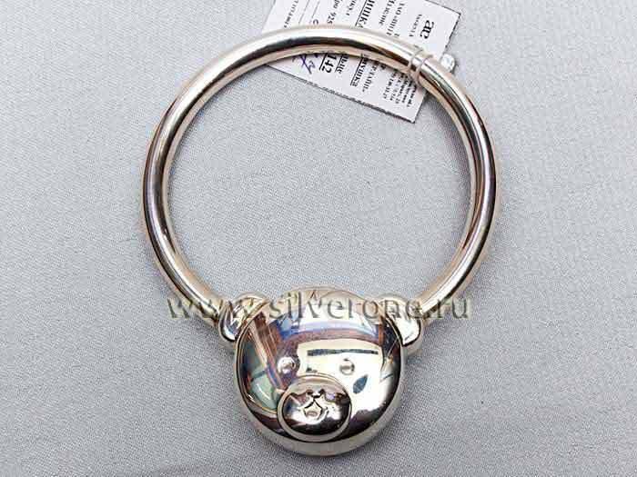 Серебряная погремушка Мишка на кольце