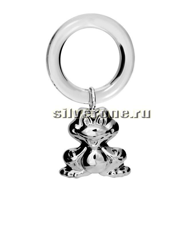 Серебряная погремушка Лягушка на кольце