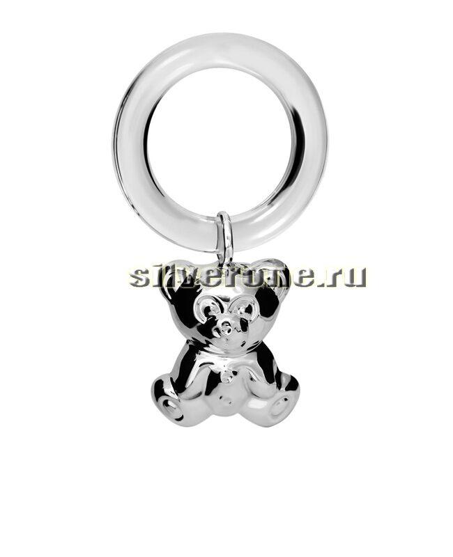 Серебряная погремушка Мишутка на кольце