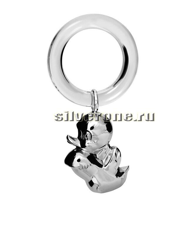Серебряная погремушка Утенок на кольце