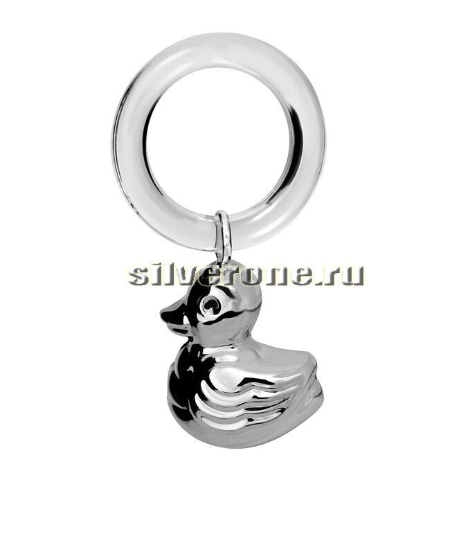 Серебряная погремушка Утка на кольце