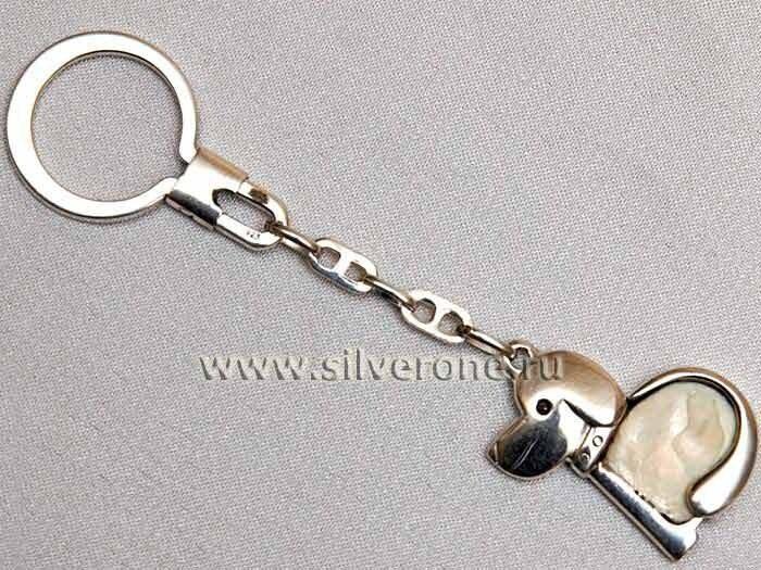 Брелок из серебря для ключей СОБАКА