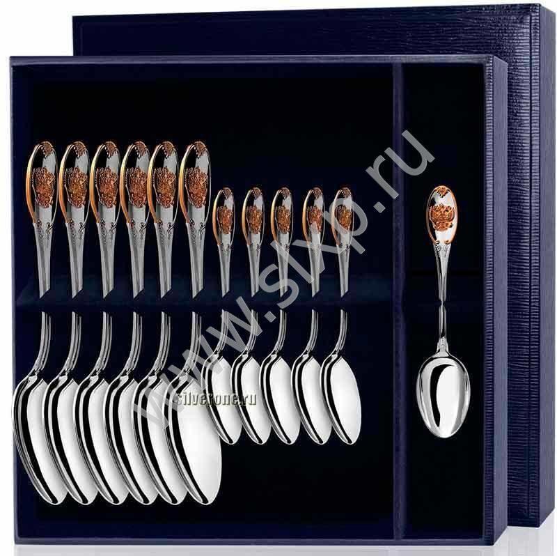 Набор серебряных ложек Единство с позолотой